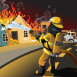 A vector illustration of firefighters trying to pu...