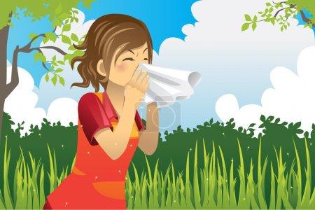 Illustration pour Illustration vectorielle d'une femme éternuant en plein air - image libre de droit
