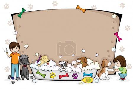 Pets grooming salon banner