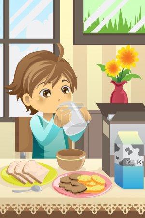 Illustration pour Illustration vectorielle d'un garçon prenant son petit déjeuner à la maison - image libre de droit