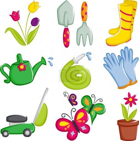 Spring gardening icons