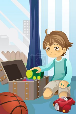 Illustration for A vector illustration of a boy cleaning up his toys and putting them inside the toy chest - Royalty Free Image