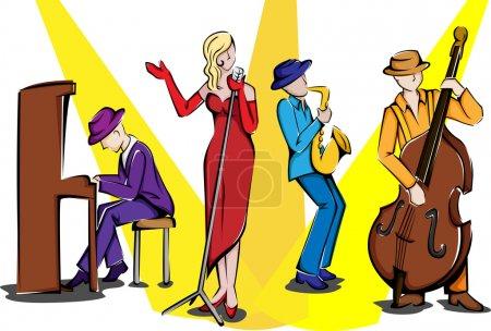 Illustration pour Illustration vectorielle d'un ensemble de jazz jouant - image libre de droit