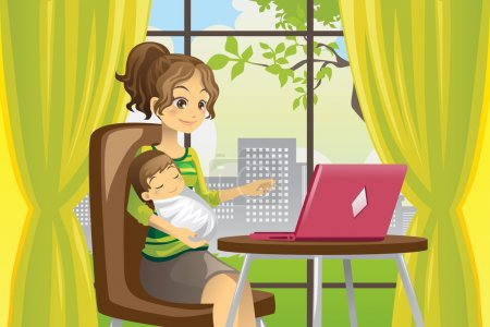 Illustration for A vector illustration of a mother working on a laptop while holding a baby - Royalty Free Image
