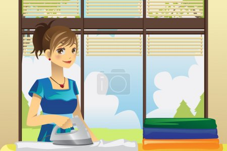 Illustration for A vector illustration of a housewife ironing clothes at home - Royalty Free Image