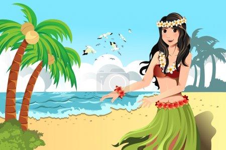 Illustration for A vector illustration of Hawaiian hula dancer girl - Royalty Free Image