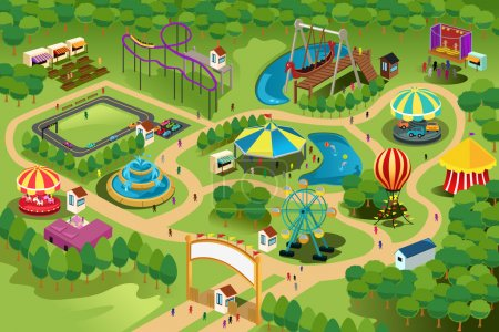 Photo pour Une illustration vectorielle d'une carte d'un parc d'attractions - image libre de droit