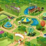 A vector illustration of a map of an amusement par...