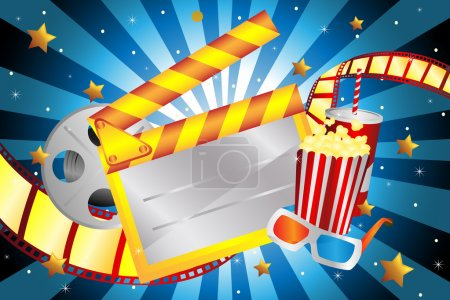 A vector illustration of bright movie background...