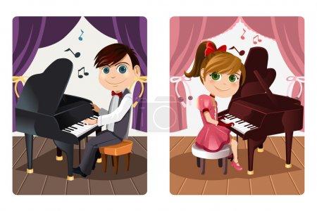 Illustration pour Une illustration de vecteur d'un garçon et une fille jouant du piano - image libre de droit