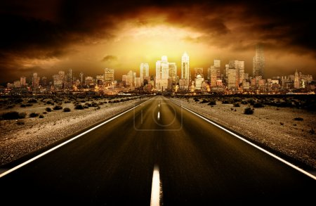 Photo for Road heading into city - Royalty Free Image