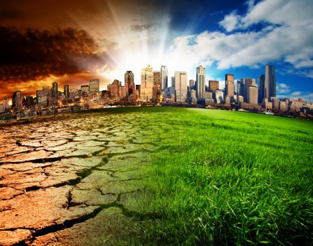 Photo pour A city showing the effect of Climate Change - image libre de droit
