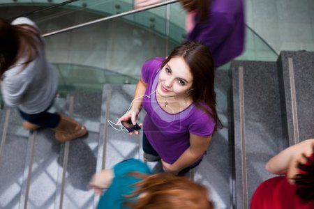 At the university/college - Students rushing up and down a busy