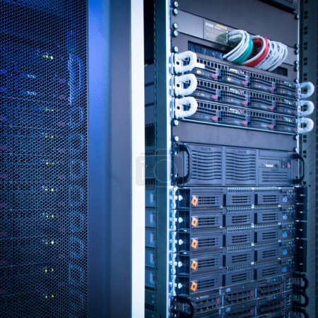 Photo for Server rack cluster in a data center (shallow DOF; color toned image) - Royalty Free Image