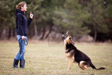 Master and her obedient dog