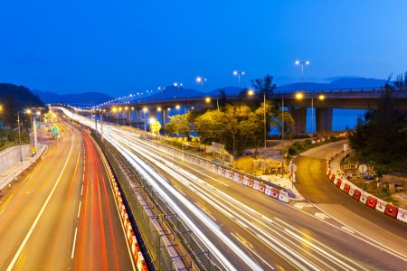 Photo for Traffic in Hong Kong highway at night - Royalty Free Image