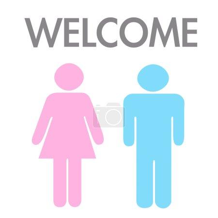 Photo pour Concept de bienvenue par l'homme et la femme image . - image libre de droit