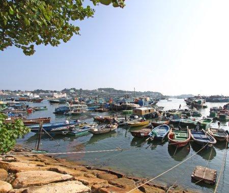 Cheung Chau fishing boats along the coast in Hong Kong