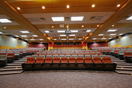 Colorful chairs in lecture hall of a university