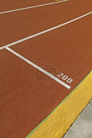 Running track in a stadium with number 200