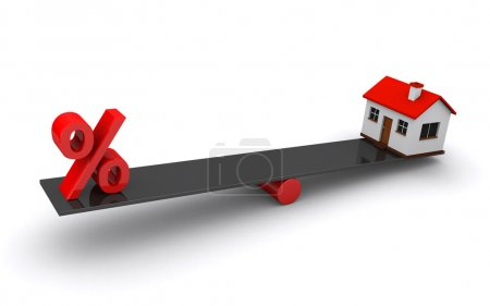 Photo pour Concept de prêt immobilier avec une maison et un signe de pourcentage sur la balançoire (rendu 3d) - image libre de droit