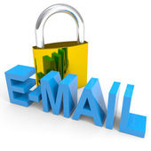 Visací zámek a e-mailů slovo. Internet bezpečnostní koncepce