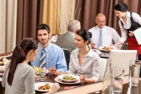 Photo for Business enjoy lunch meal at restaurant management discussion - Royalty Free Image
