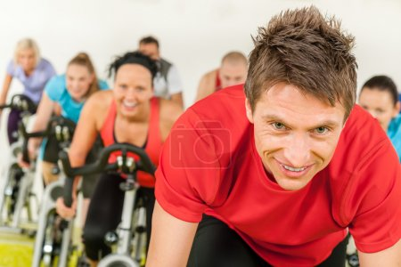 Indoor bicycle cycling in gym