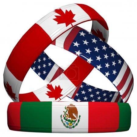 Photo pour Accord de libre-échange nord-américain, trois anneaux de mariage symbolique dans le drapeau national du canada, Mexique, usa - image libre de droit