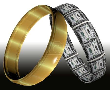 Photo pour Deux anneaux de mariage différente, symbolisant les contrats prénuptiaux et accords sur les conséquences du divorce - image libre de droit