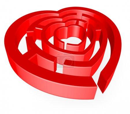 Illustration pour Une illustration abstraite sur le thème de l'amour avec le cœur en forme de labyrinthe - image libre de droit