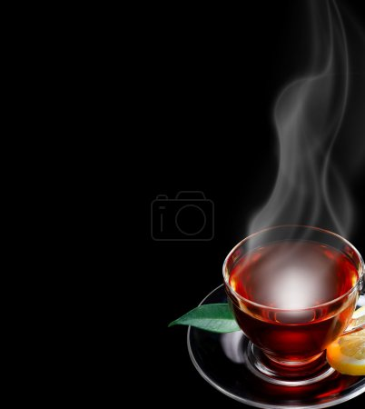 Cup of tea black background, space for text