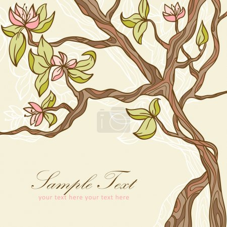 Illustration for Beautiful blooming tree with leaves and flowers romantic postcard - Royalty Free Image