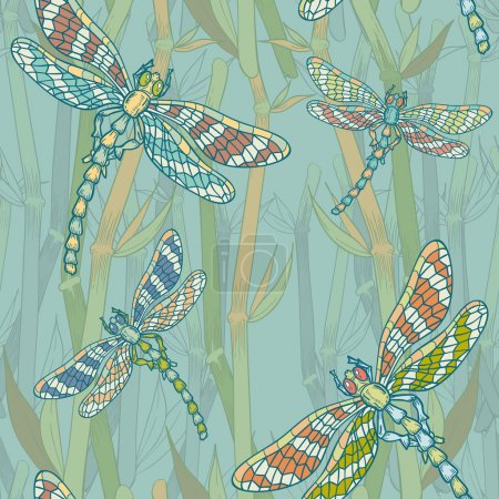 Illustration for Fantasy seamless pattern with dragonflies on the lake hand-drawn vintage picture - Royalty Free Image