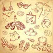 Hand drawn retro icons summer beach set on a paper background