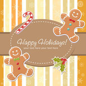 Cute Christmas card with smiling gingerbread man delicious candy cane and ilex berries on a striped background