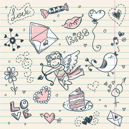 Illustration pour Doodle page scrapbook Saint-Valentin avec croquis d'amour - image libre de droit