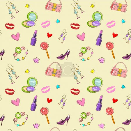 Photo for Girls seamless texture with fashion acessories, shoes, bag and lipstick - Royalty Free Image