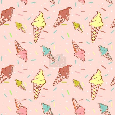 Illustration pour Crème glacée fondante colorée motif sans couture avec confettis - image libre de droit