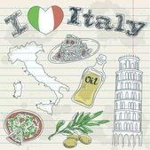 Itálie Cestování grunge karta