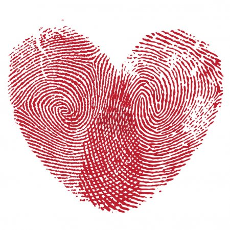 Illustration for Vector heart, man and woman fingerprint valentine romantic background. Design element. - Royalty Free Image