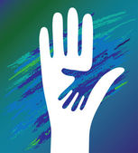 Hand of the child in father encouragement Support moral