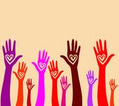 hand like heart united seamless background