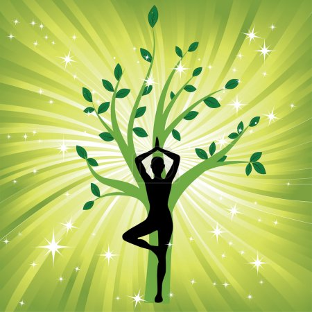 Illustration for Woman in yoga tree asana sport on wave background. Man silhouette pose in front of leaves. Energy medicine vector illustration. Element for design. - Royalty Free Image