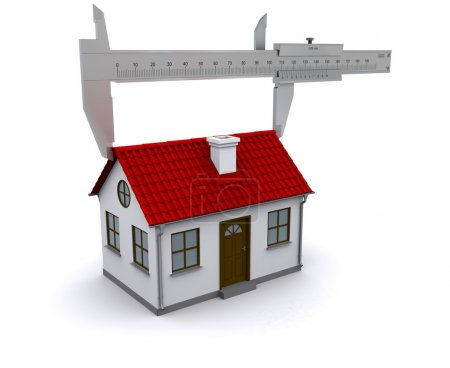 Caliper measures the length of the roof. 3D render...