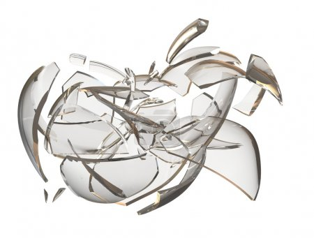 Fragments glass crashed apple. 3D rendering