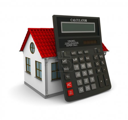 Photo pour Calculatrice s'appuya sur une petite maison au toit rouge. rendu 3D - image libre de droit