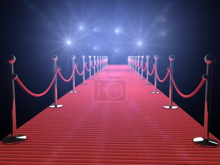 Photo for Red carpet with flash lights in the background - Royalty Free Image