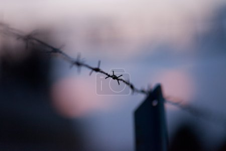 Barbwire on a fence background