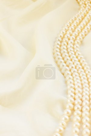 Photo for Pastel silk with pearls border abstract background - Royalty Free Image